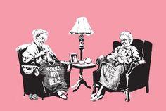 Ladies knitting punk slogans.