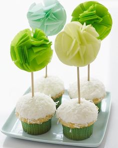 Sweet Paul's #DIY Tissue Cupcake Toppers ~ would look great if toppers were of varying heights . . . interesting display