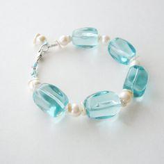 Aqua Blue Quartz Glass Chunky Bracelet by CalliopeAZCreations, $45.00