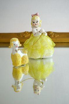 Blond Girl Walking Dog Poodle Figurine by ScarlettJadeDecor