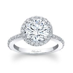Definitely don't hate this one... Halo Engagement Ring - 7839LW - Stunning, in vogue, this white gold diamond halo engagement ring will capture the eye of many admirers. Micro pave diamonds encircle the low profile, large round diamond center and cascade  down the dainty shank for a look of sheer elegance.  Also available in 18k and Platinum.