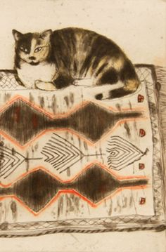 Art by Elizabeth Blackadder (b.1931), 2003, Kikko on a Rug, etching. (detail)