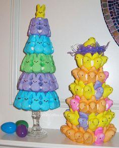Peeps Topiaries. Great Easter brunch centerpiece.