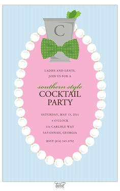 Bowtie Pearls Julep Invitation.