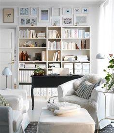 lots of shelves/white/black desk/comfy