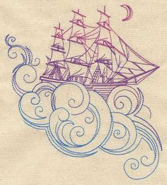 Dreamboat | Urban Threads: Unique and Awesome Embroidery Designs. Love this for a little boys room, thinking Neverland/Pirate theme