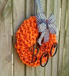 Orange Burlap Halloween Wreath. I need to get back to making wreaths again!  Such cute ideas!!