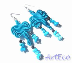 total light blue soutache earrings