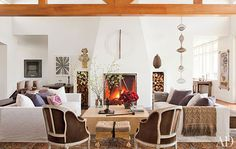 living room, fireplace, white, beams