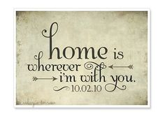 CUSTOMIZE your date - Home is Wherever Im With You - Edward Sharpe - Engagement Gift - Wedding Gift - Typography Print 5x7 - Music Quote via Etsy