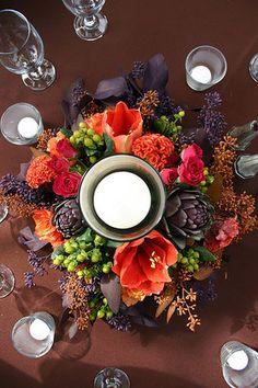Flowers #flowers #centerpiece #orange #purple #wedding