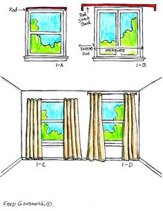 Hang curtains wider than the window and close to the ceiling to create the optical illusion of bigger windows.  Save money by using store-bought panels or making your own.  One panel on either side of the window creates a frame.  For privacy/light control you can add a shade, blinds, or sheers in the middle. decor, hang curtain, idea, curtains, window, hous, hang drape, diy, design