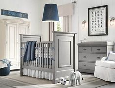 Classy Baby Room Designs Boasting Classic Interior Details : Blue And White Baby Room Design With White Armchair Near Grey Cradles Under Blu...
