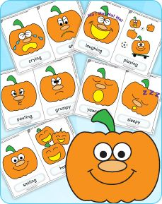 """Free flashcards for """"Five Little Pumpkins"""" from Super Simple Songs 1. Great for Halloween or at any time of year to practice emotions."""