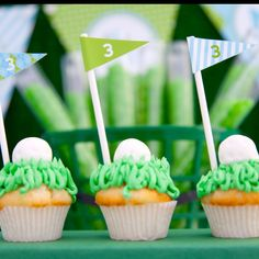 Golf party cupcakes #golf #party