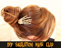 DIY Skeleton Hair Clip for Halloween plus 11 other spooky crafts