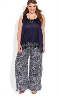 Deb Shops Plus Size Tribal Circle Print Palazzo Pants << I long for the days when we no longer refer to clothing as PLUS size