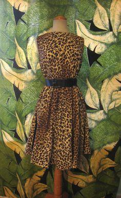 50s CORDUROY LEOPARD Print Dress 1950s 1960s by Flipsville on Etsy, $60.00
