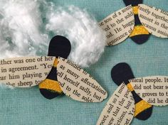 Cute little bees…wings are made from the pages of old books!