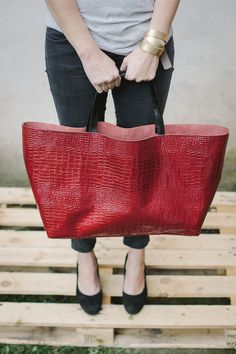 Red Croc Oversized Tote Bag