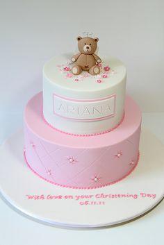 pink cakes, teddy bears, birthdays, christening cakes, baptism cake, creativ cake, christen cake, babi shower, bear cake