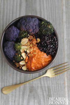 Black Rice, Romesco, and Roasted Veggie Bowls