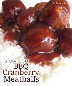 Slow Cooker BBQ Cranberry Meatballs Only 3 ingredients and you have an amazing meal!