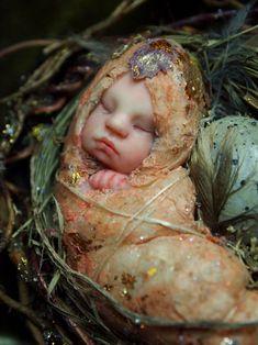 Fairy Baby on Nest Handsculpted OOAK Art Doll by NenufarBlanco