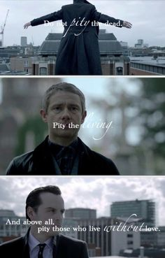 Sherlock, Dr. John Watson and Jim Moriarty.  Reichenbach Fall.  Sherlock (BBC).  Benedict Cumberbatch, Martin Freeman and Andrew Scott.