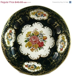50% OFF SALE Vintage Daher Decorated Black Round Scalloped Floral Tin Bowl - England