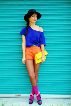 Orange shorts magenta socks yellow forever21 belt blue top