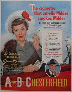 1950 JANE WYMAN Chesterfield Woman Lady Cigarettes Vintage Advertisement Smoking by Christian Montone, via Flickr