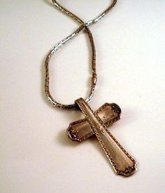 pendant, silverwar cross, tone cross