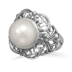Sterling Silver Freshwater Button Pearl Ring - Sunnyside Swimwear