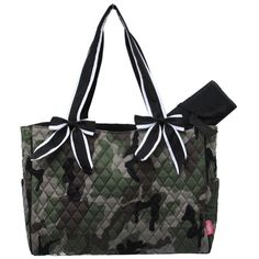 Camo Quilted W/white Stripe Diaper Bag-black..
