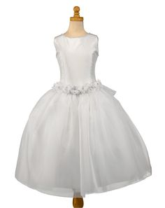 Christie Helene Couture Communion Dress - Alexa - White Polychantong and Organza Dress - Designer First Holy Communion Dress UK Stockists - Ballerina Length Communion Dresses for Girls