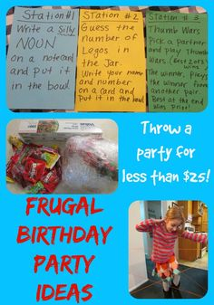 Frugal Birthday Party Ideas from Teach Beside Me. Fun Birthday Games!