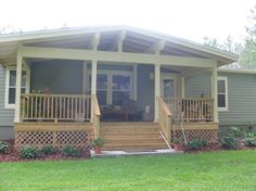 "Here's a fabulous front porch design for a mobile homes from #HGTV ""Rate My Space."" You've got to see the underside of the roof! #porch"