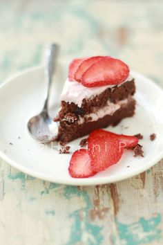 Grain-free chocolate cake with strawberry cream frosting
