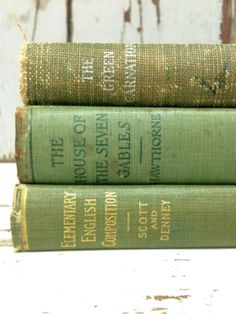 Decorative Old Books in Mint Green by beachbabyblues, $45.00