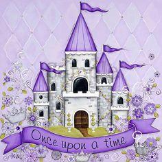 Princess Castle, Children's Wall Art, Personalized, Lavender, Girls Room, Princess Decor, Purple