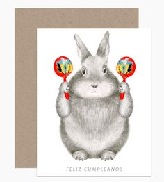 Graphite Bunny with Maracas by Dear Hancock Paper Goods. Could there be a better bday card? I think not. maraca, bunny birthday, stationari, happy birthdays, graphit bunni, paper goods, dear hancock, illustr, cards