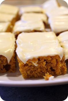 pumpkin cakes, food, pumpkin bars, dinner ideas, bar recipes, healthy recipes, pumpkin pies, dessert, cream cheese frosting
