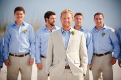 Groomsmen, khaki linen suit with blue shirt!