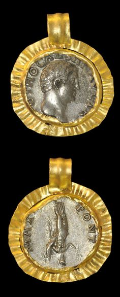Gold pendant: Circa 69 AD. A rare denarius of Roman emperor Otho facing right, the reverse with Fortuna and olive branch.