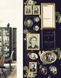 I like this black wall with old prints, wish I could figure out a place to do it
