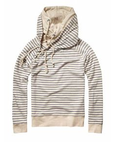 Sailor lace up sweat with double hood