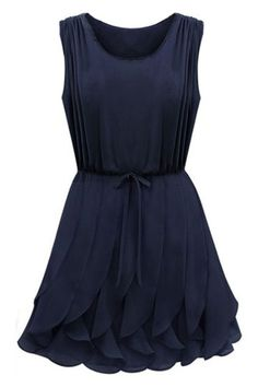 ROMWE | Self-tied Flouncing Blue Dress, The Latest Street Fashion  $34.99