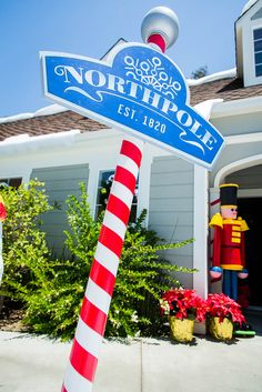 Mark Steines creates a Northpole sign posted on a candy cane pole! #christmaskeepsake #northpole #pole #candycane #homeandfamily #homeandfamilytv