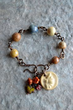 Busy Bee Ceramic Wire Wrapped Bracelet. $36.00, via Etsy.